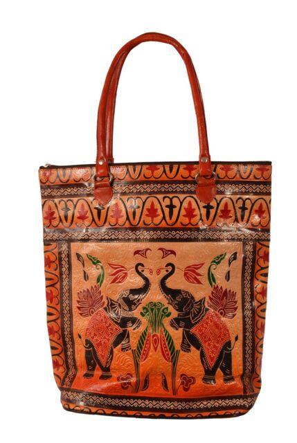 ba9f5c9dc0a9c Elephant Design Vintage India Shantiniketan Leather Tote Bag Banjara Boho  Ethnic
