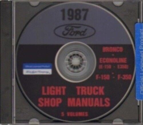 FORD 1987 Bronco Econoline E150-E350 /& F150-F350 Pick Up Truck Shop Manual CD