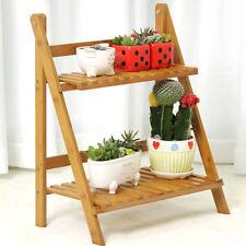 Multi Level Plant Stand 2 Tier Bamboo Platform Garden Patio Outdoor Flower  Shelf