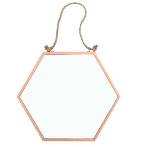 Rétro Vintage Moderne Géométrique hexagonale Cuivre Cadre Mural Miroir CORDE S