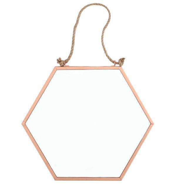 Copper Geometric Wall Mirror Modern Vintage Frame Hexagonal Hanging Rope 30cm Ebay