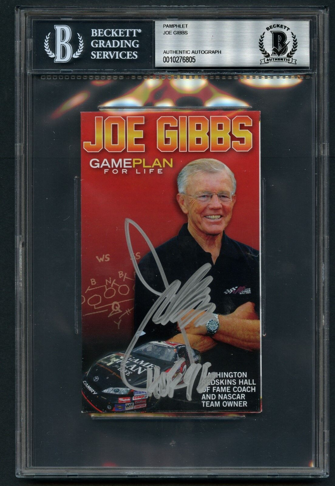 Joe Gibbs Autographe Signé Auto 3.5x5.5 Brochure Match Plan For Life Bas Slabbed