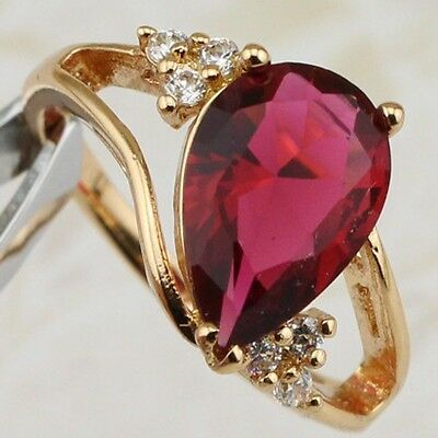 Size 6 6.5 Awesome Nice Ruby Red Pear Gems Jewelry Gold Filled Lady Ring R1924
