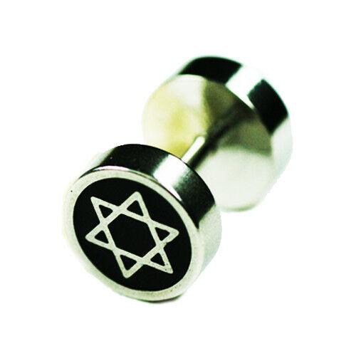 Acero Fake Plug oreja piercing estrella david stern motivo Cromo Plata
