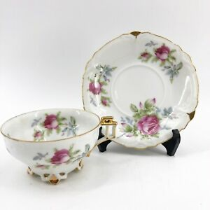 Vintage-LEFTON-China-Footed-Teacup-Tea-Cup-amp-Saucer-Hand-painted-Pink-Roses