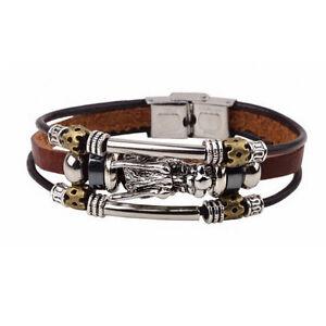Leder-Maenner-Tibetischen-Silber-Armband-Parataxe-Drachen-Mehrschichtige-neu