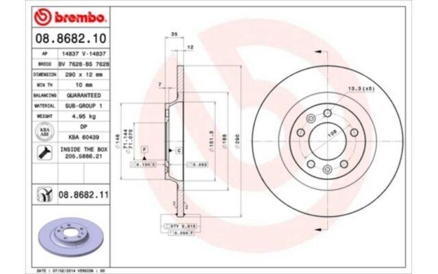 2x BREMBO Discos de Freno Traseros Pleno 290mm Para PEUGEOT 407 607 08.8682.11