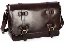 Smooth Hunter Leather Laptop Office Briefcase Messenger Bag  Men Women