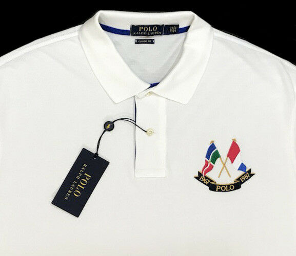 Men's POLO RALPH LAUREN White Flag POLO Shirt XXL 2XL NWT NEW Classic Fit