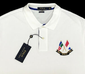 Men s POLO RALPH LAUREN White Flag POLO Shirt XL Extra Large NWT NEW ... 3f54648b6dd