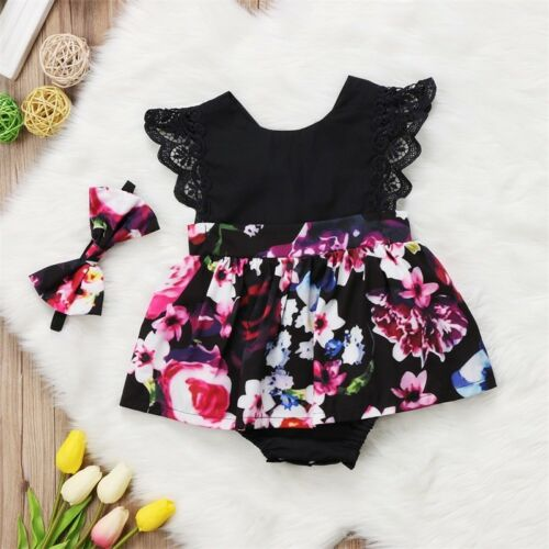 Newborn Baby Girl Infant Kids Romper Jumpsuit Bodysuit Tutu Dress Clothes Outfit