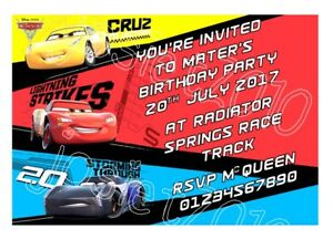 Image Is Loading Personalised Cars 3 Lightning McQueen Birthday Party Invitations