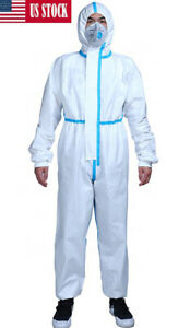Hooded Protective Suit Coverall Isolation Gown Clothing Long Front Zipper L 180