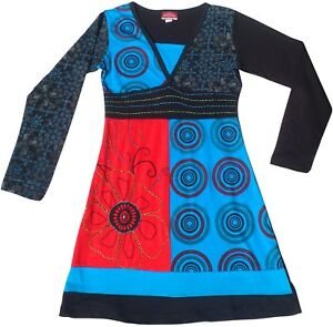 nepalaises-coton-patchwork-hippie-ethnique-festival-boheme-Robe-10-12-14-16