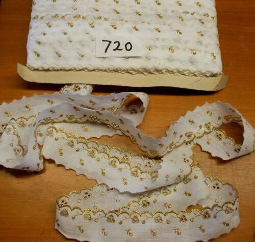 "3m  x 4cm/""  WHITE with GOLD pattern  Border Anglaise 720 Haberdashery"