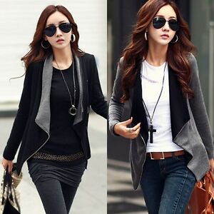 Fashion-Womens-Slim-Fit-Blazer-Coat-Zipper-Casual-Long-Sleeve-Jacket-Outwear-Kit
