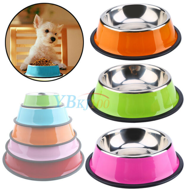 New Colorful Pets Dog Cat Anti Skid Stainless Steel Feeding Food Water Bowl Dish