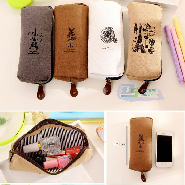 Vintage Student's Canvas Pen Zipper Bag Pencil Case Travel Makeup Cosmetic Bags