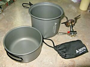 Excellent SOTO Spark Ignition Stove for cannister fuel w/ well designed cookset