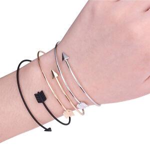 Simple-Fashion-Women-Men-Metal-Punk-Cuff-Arrow-Bangle-Bracelet-Jewelry-Gift-HOT