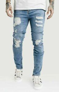 Sik-Seta-da-Uomo-Skinny-Stretch-Stonewash-ANGOSCIA-Strappato-Lavaggio-Leggero-Jeans-Denim