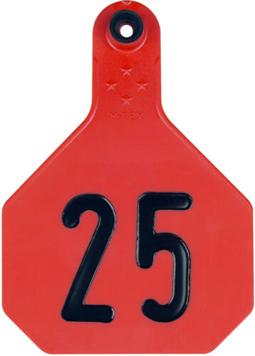 YTex 4 Star Large Red Cattle Ear Tags Numbered 1-25
