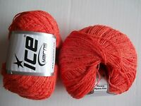 Viscose Alpaca Fine Yarn By Ice Yarns, Orange, Lot Of 2, (412 Yds Each)