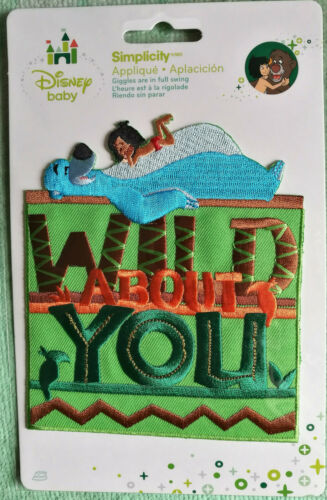 @DISNEY JUNGLE BOOK WILD ABOUT YOU EMBROIDERED IRON-ON//SEW APPLIQUE// PATCH@NIP