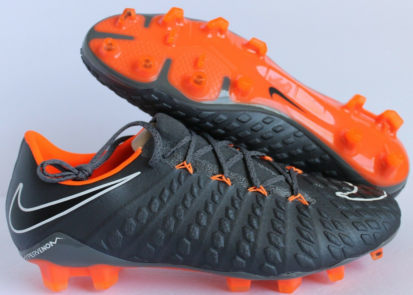 NIKE HYPERVENOM PHANTOM 3 ELITE FG GREY-ORANGE  MEN'S 9.5/WOMEN 11 (AH7273-081)