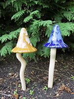 2 Witch`s Hat Ceramic Mushrooms/toadstools Garden Colorful Garden Large Kenoki
