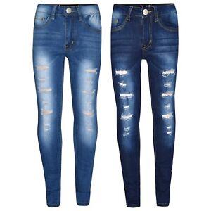 97e3c55a75 Dettagli su Bambini Jeans Stretti per Ragazze Strappato Denim Elasticizzato  Pantaloni