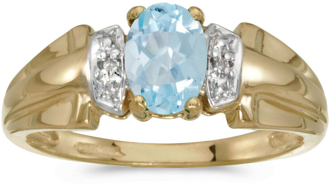 14k Yellow gold Oval Aquamarine And Diamond Ring (CM-RM1041X-03)