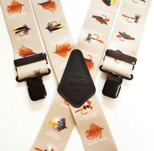 """Mens Braces Heavy Duty 1.5/"""" or 2/"""" Fly Fish Fishing on Green with Black Clips"""