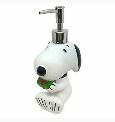 SNOOPY PEANUTS glass soap pump dispenser bathroom 340ml New