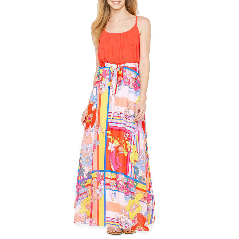Robbie Bee Women's orange Multi Floral Dress 24 2X Plus Size Dress RB60385W
