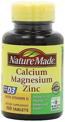 Nature Made Calcium Magnesium Zinc with Vitamin D 100 tablets