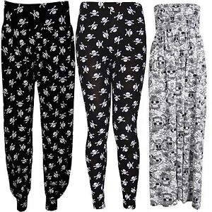 4fb838a97df New Womens Plus Size Skull Head Pirate Print Maxi Leggings Trouser ...