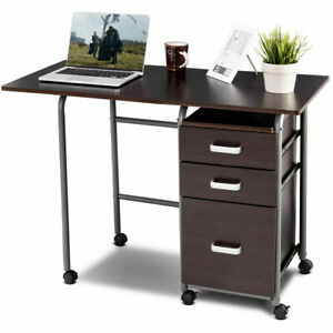 Details About Folding Computer Laptop Desk Wheeled Home Office Furniture W 3 Drawers Brown
