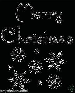 Merry-Christmas-Snowflake-Iron-On-Rhinestone-Transfer-hotflix-t-shirt-applique