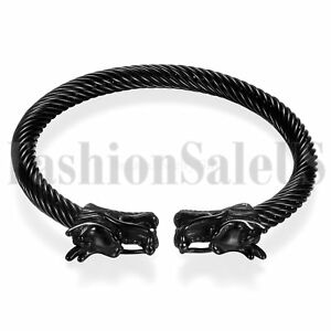 Punk-Mens-Womens-Black-Dragon-Stainless-Steel-Twisted-Cable-Bangle-Bracelet-Cuff