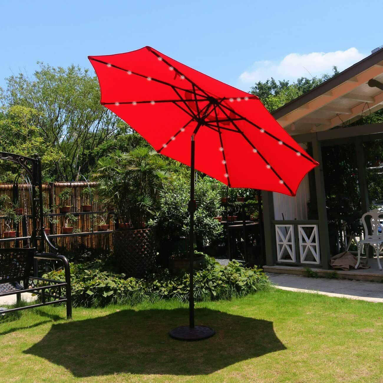 Sunnyglade 9 Solar 24 LED Lighted Patio Umbrella with 8 Ribs// Tilt Adjustment and Crank Lift System Red