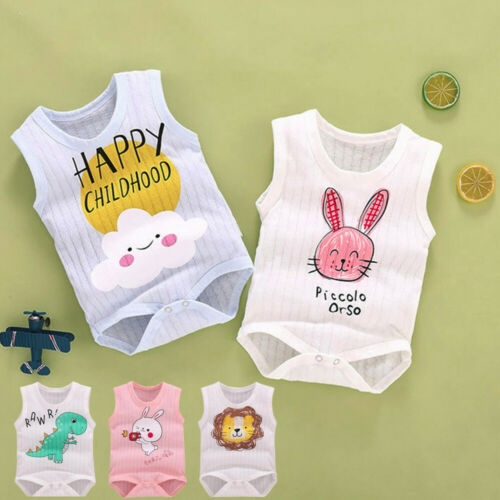 Newborn Baby Boys Girls Sleeveless Cartoon Animal Print Tank Romper jumpsuit