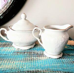 "Vintage Gibson Housewares China Cream & Sugar Bowl White Gold Trim 4.5"" EUC"