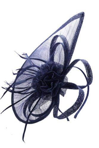 Hat Navy Fascinator Wedding Ladies Day Race Sinamay Headband and Clip UK