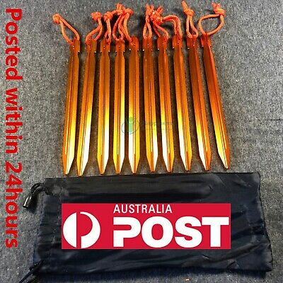 10Pcs 18cm Aluminum Alloy Outdoor Camping Trip Tent Peg Ground Nail Stakes