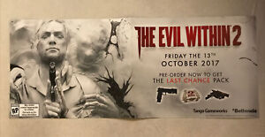 THE-EVIL-WITHIN-2-Banner-53x22-Gamestop-Promo-Poster-PS4-XBOX-Double-Sided-RARE