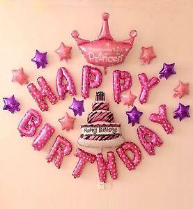 Happy Birthday Foil Balloon 16 Inch Birthday Decoration Pink Happy