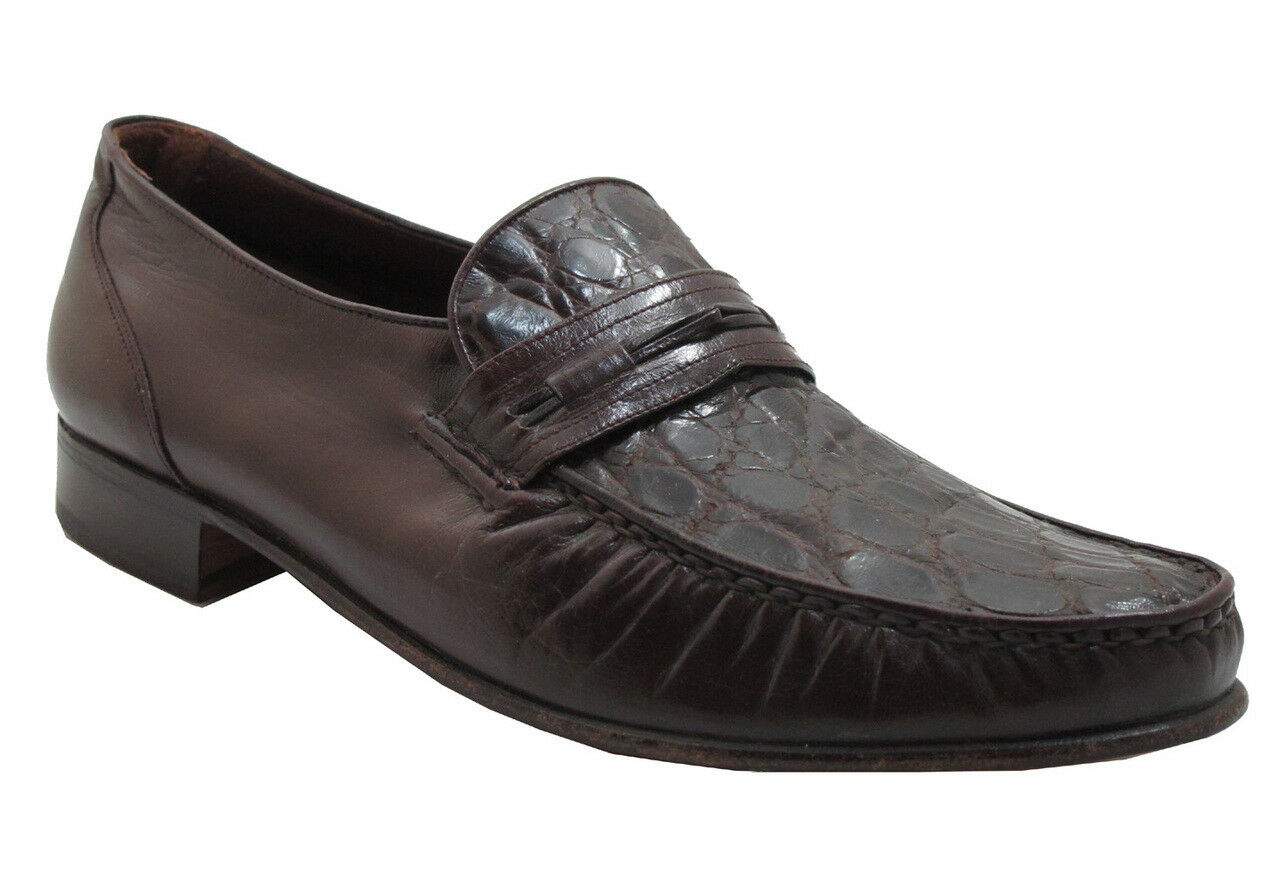 Via Veneto Homme 9998 Crocodile Italien Slip On Mocassin marron foncé