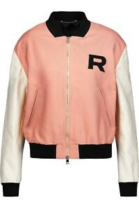 b2f614548 Details about Rochas Appliquéd color-block twill bomber jacket black cream  and rose