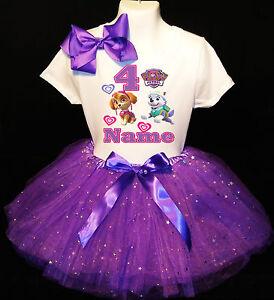 Dog Puppy Pink Paw Skye Everest Purple 2nd Second Birthday Tutu Outfit Shirt Set